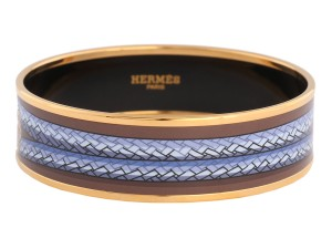 Hermès WIDE BRANDENBOURG ENAMEL BANGLE BRACELET PM