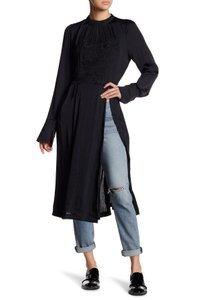 Free People Embroidered Slit Longsleeve Polyester Tunic Dress