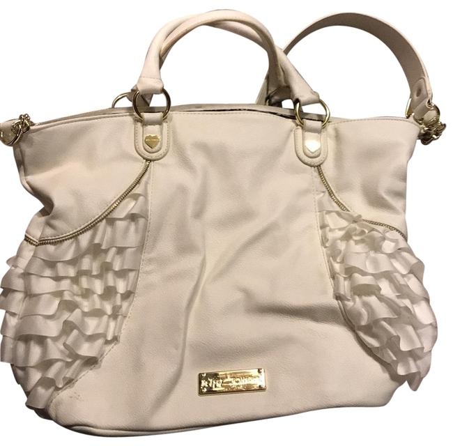 Item - Ruffle Tote White Leather Satchel