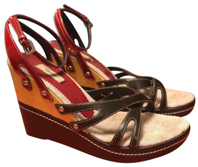 Item - Brown Red And Sandal Wedges Size EU 37.5 (Approx. US 7.5) Regular (M, B)