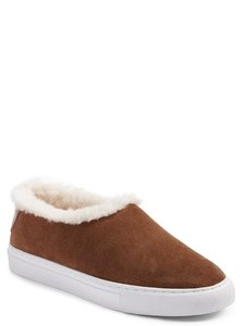 Tory Burch Suede Sneaker Miller Genuine Shearling Lined FESTIVAL BROWN Athletic