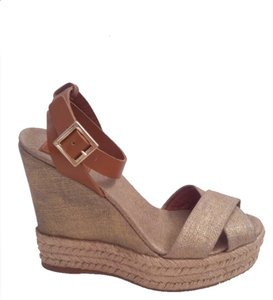 c38b56833e274 Tory Burch Espadrille Leather Sandal Gold Shimmer Linen   Brown Wedges