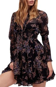 Free People short dress Floral Print Longsleeve Sheer Ruffle on Tradesy