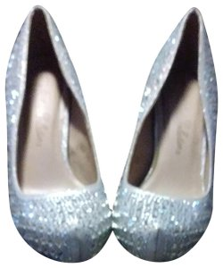 De Blossom Collection Silver glitter with diamond studs Platforms