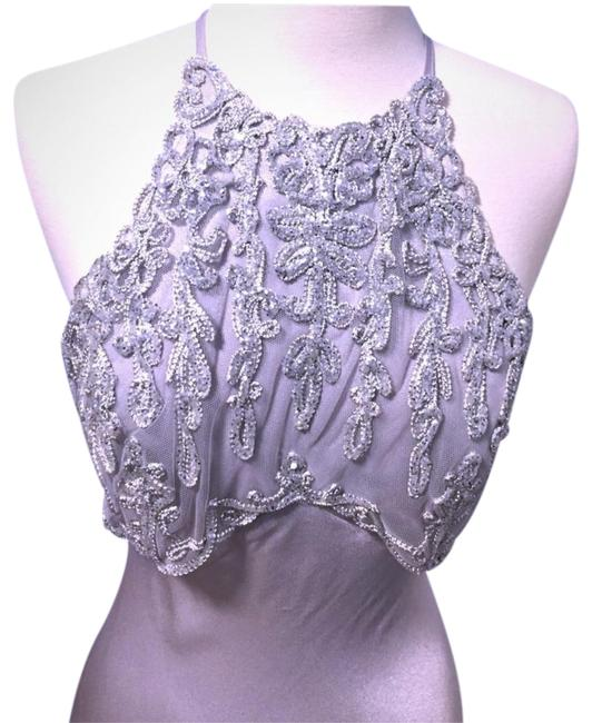 Item - Silver Embellished Lace and Sequences Prom Long Formal Dress Size 4 (S)