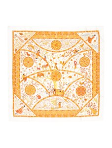 Hermès White Orange 2009 Peuple Du Vent Twill 90 Carre Tusch Foulard Scarf