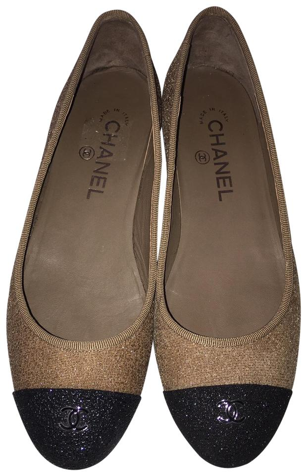17a4f8cbe76 Chanel Beige and Black Orig. Box Shimmer Cc Cap Toe Ballet (Eu 37) Flats