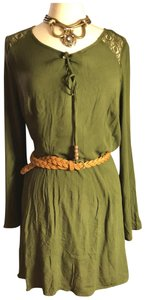 Self Esteem short dress dark olive green/Tab-brown belt/Beads on Tradesy