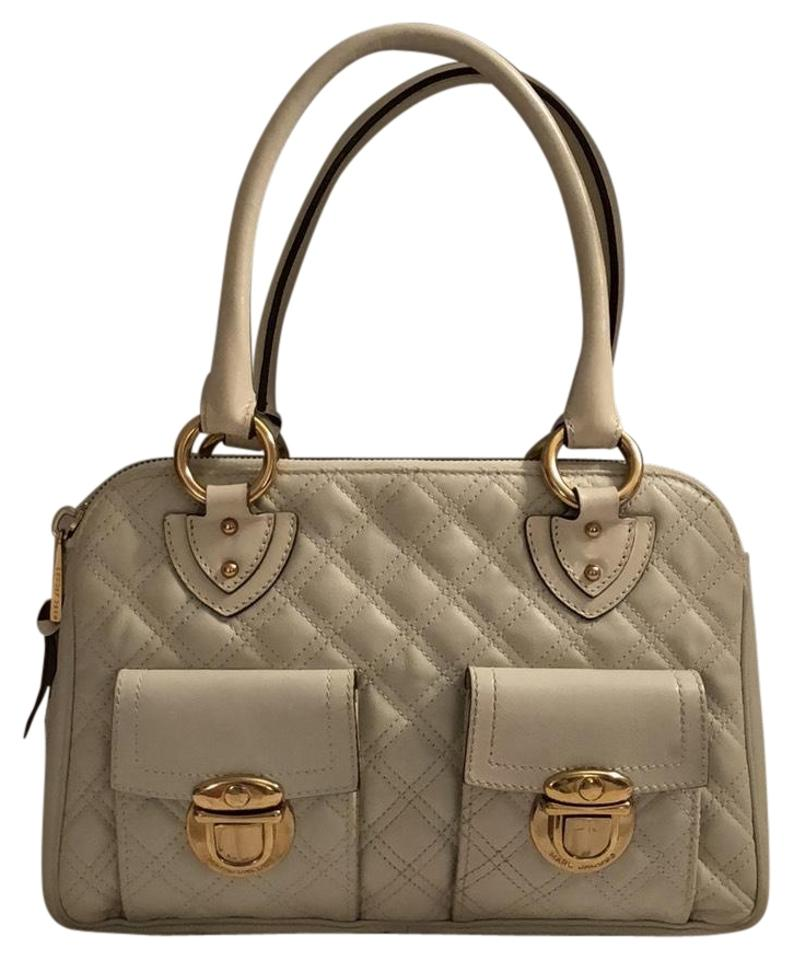ceed7ed812c Marc Jacobs Quilted Blake Satchel Handbag White Leather with Gold Buckles  Shoulder Bag