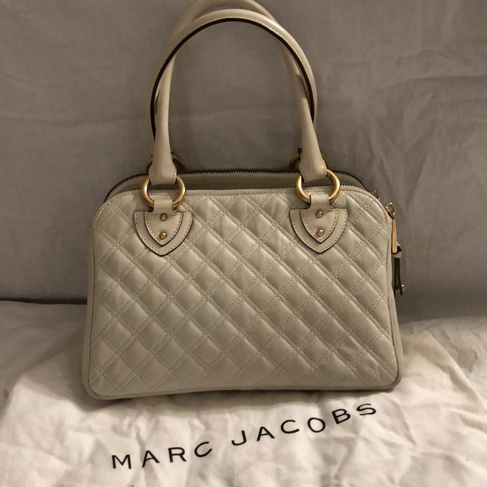 Marc Jacobs Quilted Blake Satchel Handbag White Leather With Gold Buckles Shoulder Bag Tradesy