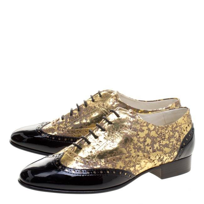 Item - Gold Metallic and Black Patent Brogue Leather Lace-up Oxford Si Formal Shoes Size EU 40.5 (Approx. US 10.5) Regular (M, B)