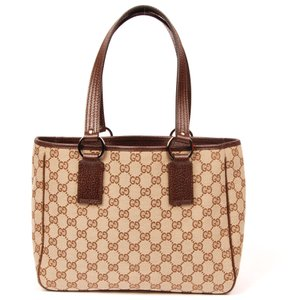 Gucci Monogram Canvas Vintage Gg Tote in Brown 5866 Very Nice Condition