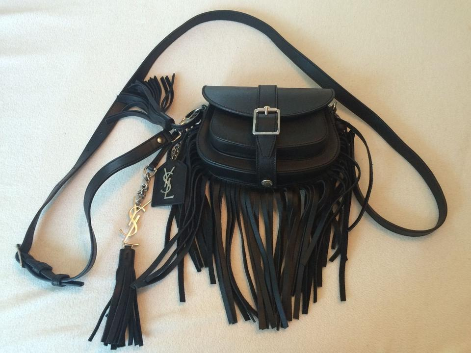 Bag Curved Laurent Shoulder Fringe Mini Saint Leather Black Eq0xv1RRw