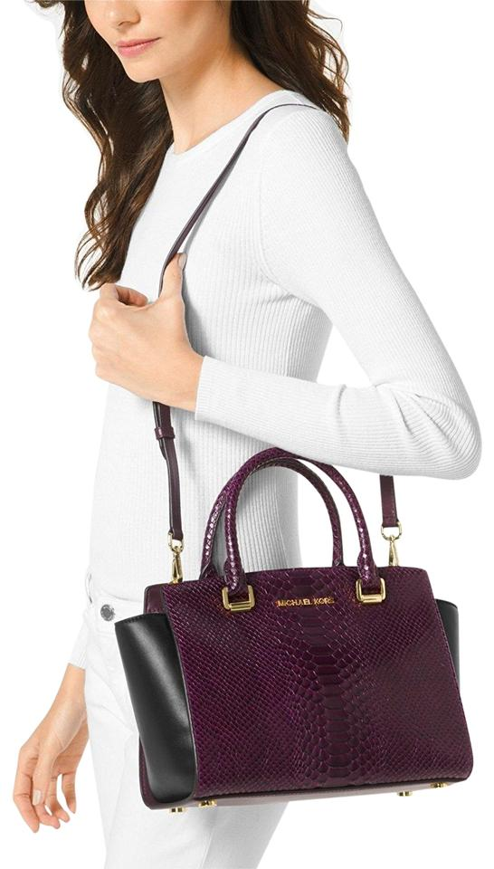 a28c0506fd16d MICHAEL Michael Kors Medium Selma Snake-embossed Lhr Leather 30f7glms2e  Satchel in Damson Black ...