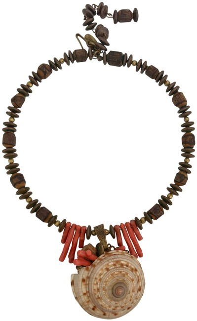 Miriam Haskell Orange Coral Brown Gold Vintage Sundial Sea Shell Bead & Wood Choker Necklace Miriam Haskell Orange Coral Brown Gold Vintage Sundial Sea Shell Bead & Wood Choker Necklace Image 1