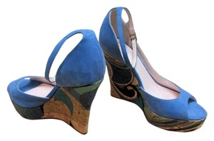 Pucci Teal Blue Wedges