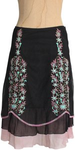 Anthropologie Mesh Embroidered Layered Odille Free People Skirt black pink multi