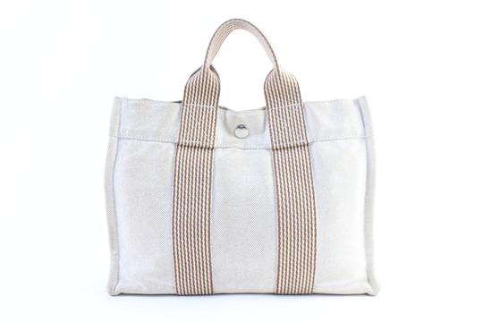 Hermès Cabas Birkin Kelly Evelyne Beach Tote in Cream x Orange