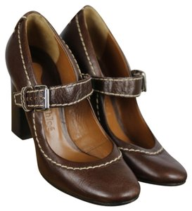 Chloé Mary Jane Block Heel Solid Contrast Stitch Brown Pumps
