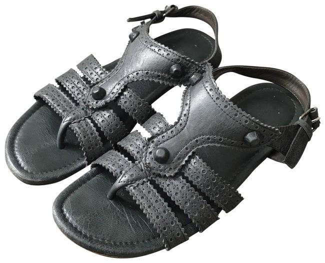 Item - Gray Anthracite Brogues Flats Buckle Casual Sandals Size EU 37 (Approx. US 7) Regular (M, B)