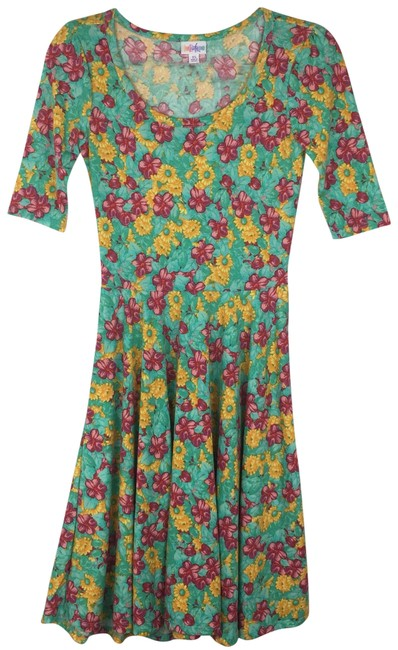 Item - Green Yellow Red Floral Nicole Mid-length Short Casual Dress Size 2 (XS)