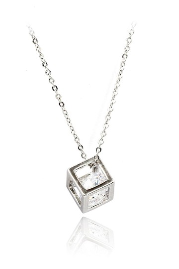 Preload https://img-static.tradesy.com/item/23215712/silver-cube-crystal-necklace-0-0-540-540.jpg
