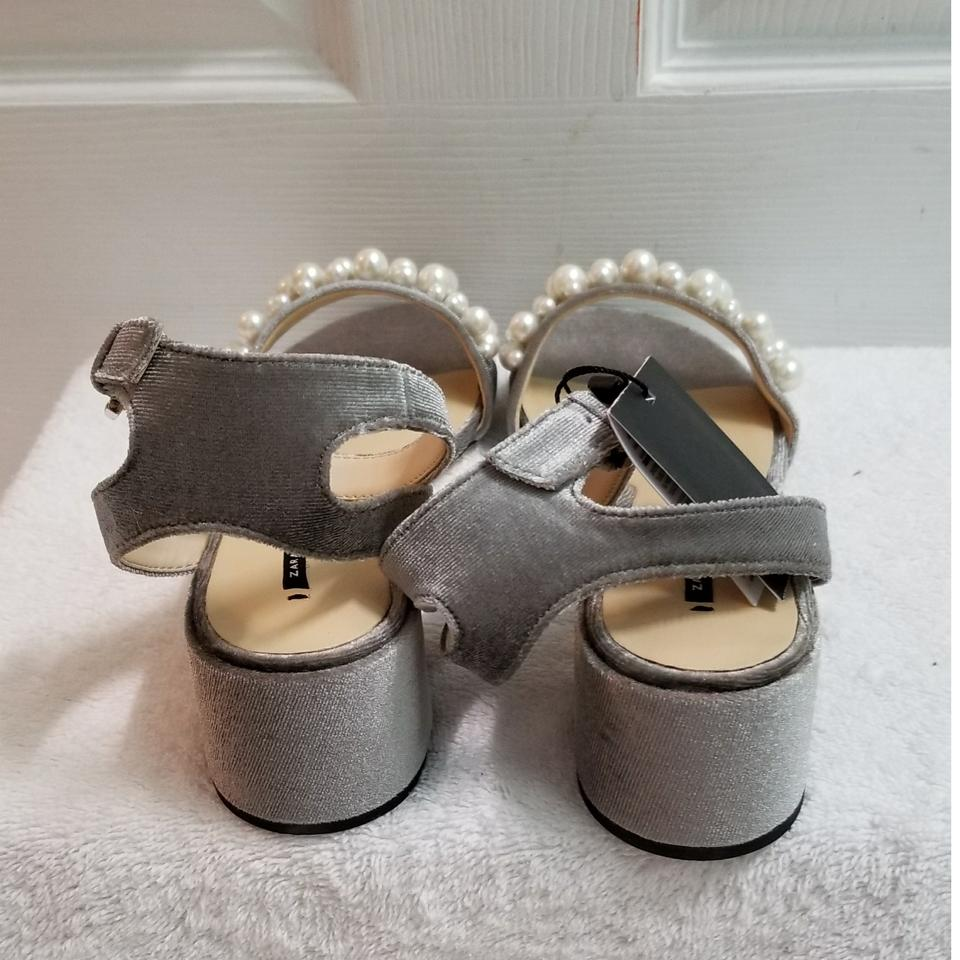 c9a83c9a9c9 Zara Grey Velvet High Heel with Pearl (6556) Sandals Size US 6 ...