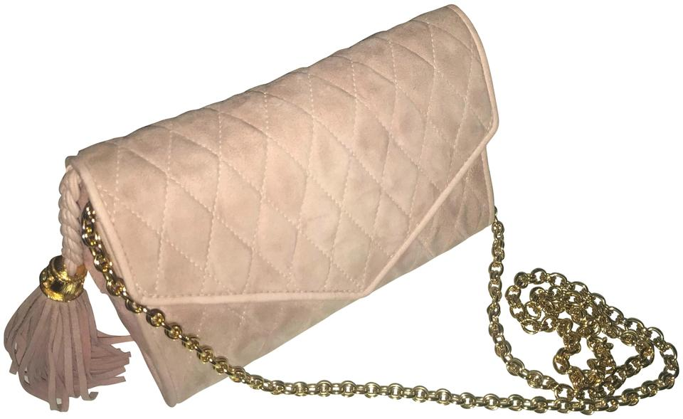 47ace16e7d1c Chanel Clutch Tassel Quilted Blush Pink Suede Shoulder Bag - Tradesy
