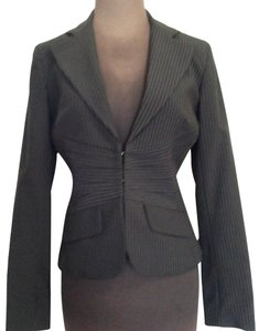Kenneth Cole Reaction Pinstriped Jacket Fitted Black Blazer