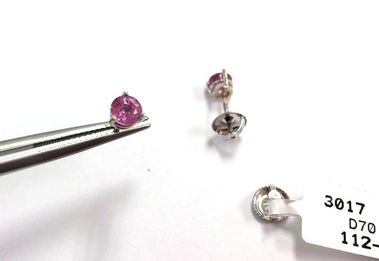 Protea Diamonds Pink Sapphire Stud Earrings, 1.12 carat 3-Prong 14K White Gold