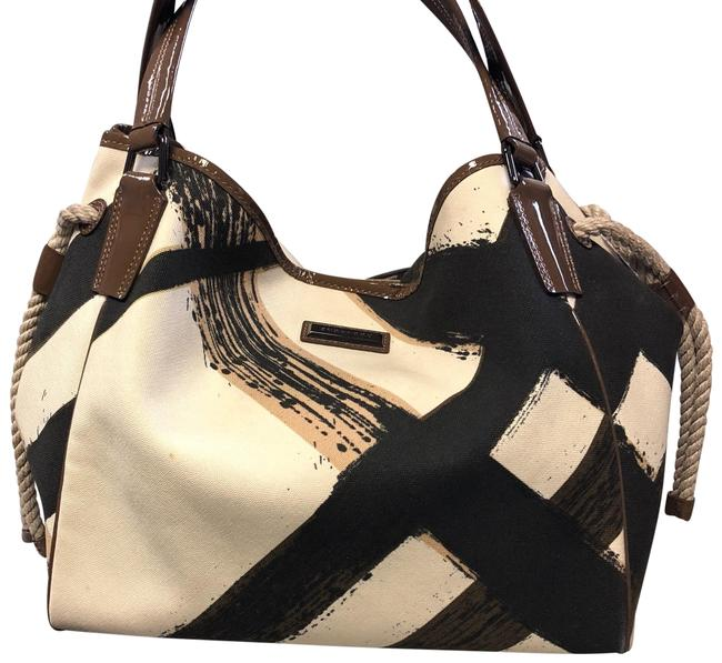 Item - Tote White Black and Brown Fabric Hobo Bag