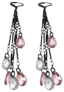 1928 1928 Long Gunmetal with Pink and Blue Crystals Dangling Earrings
