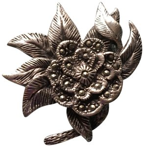 Other stunning vintage genuine marcasite and sterling silver brooch pin