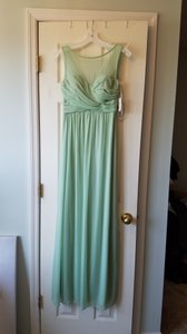 David's Bridal Meadow Green Mesh F15927 Traditional Bridesmaid/Mob Dress Size 4 (S)