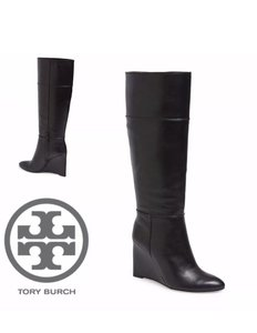 Tory Burch Wedge Leather Side Zipper Black Boots