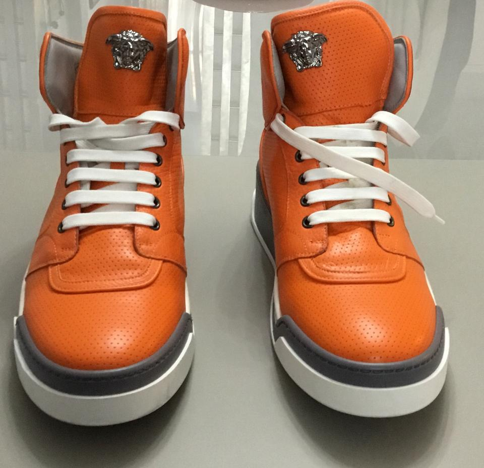 798a4a987bd6 Versace Orange New Perforated High-top Sneakers For Men 45 - 12 Shoes