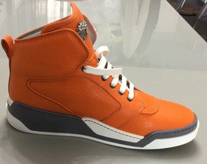 Versace Orange New Perforated High-top Sneakers For Men 47 Eu 13.5 Us Shoes