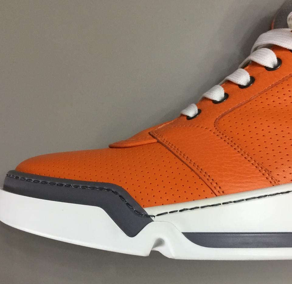 82a020abbd5e Versace Orange New Perforated High-top Sneakers For Men 45 Eu 12 Us ...