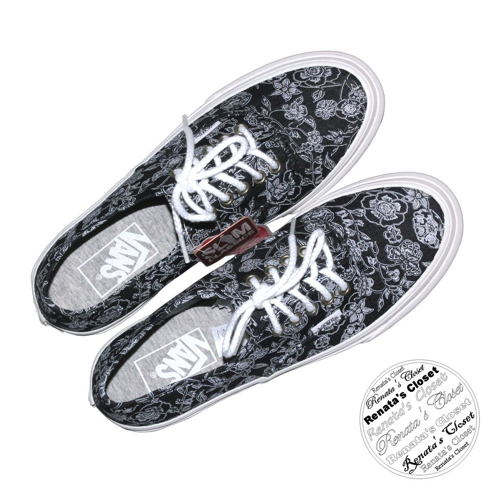 Vans Black Chambray Retro Floral Slim Unisex Skate Sneakers Size US ... 6c8a06def