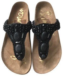 Sam Edelman Flip Flip Beaded Flat Casual Black Sandals