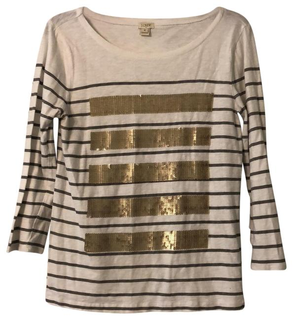 Item - Gray and White with Gold Sequins Classic Tunic Size 8 (M)