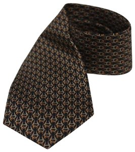 Gucci Gucci Men's Huffero Black/Orange Silk Necktie 349407