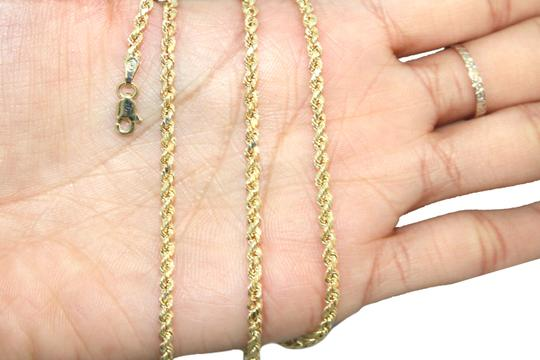 Other 10K Rope Chain with Diamond Nail Cross Pendant Charm Necklace Image 5
