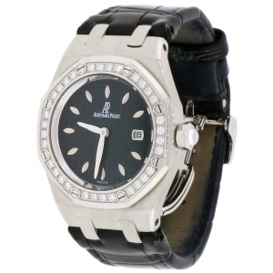 Audemars Piguet Royal Oak Ladies Factory Diamond Bezel 33mm Black Dial Steel