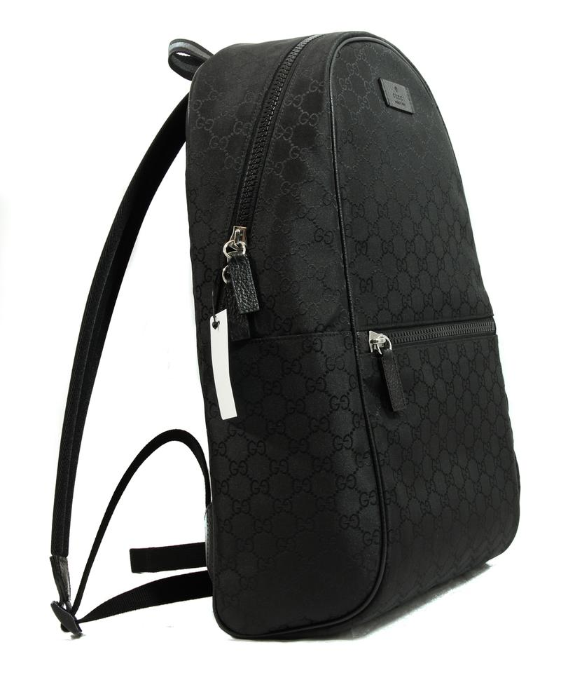 Gucci New Gucci 449181 Black Nylon Gg Guccissima Slim Backpack Rucksack Travel  Bag 8e54ebbbcbc46