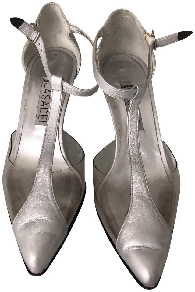 80118bb32cde Casadei Silver Women Casadei-silver-leather-clear-plastic-heels-strap-shoes  Pumps