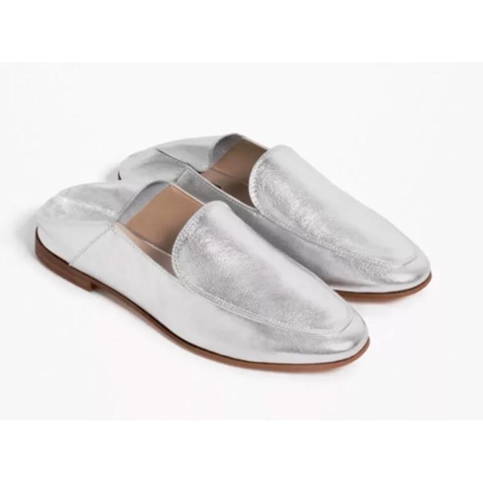 60928fa0936 Zara Silver Leather Loafers Mules Slides Size US 5 Regular (M