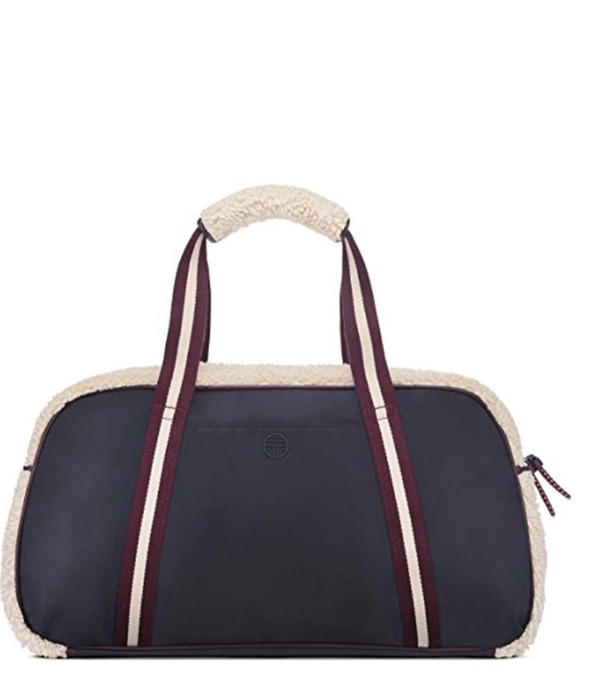 14aabcb3b537 Tory Burch Duffle Navy Canvas Cotton with Shearling Weekend Travel ...