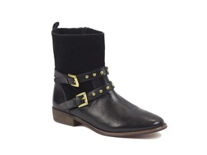 Coach Ankle Leather Solid Casual Black Boots