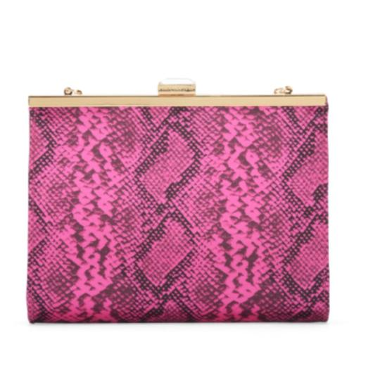Juicy Couture Animal Print Faux Leather Monogram Studded Gold Crisscross Strap Fuchsia Clutch